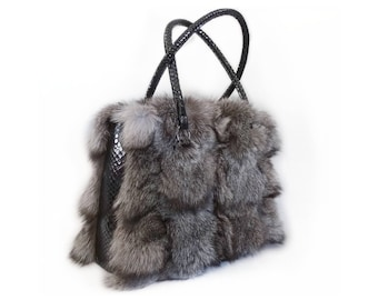 Fox Fur and Leather Shoulder Handbag F701