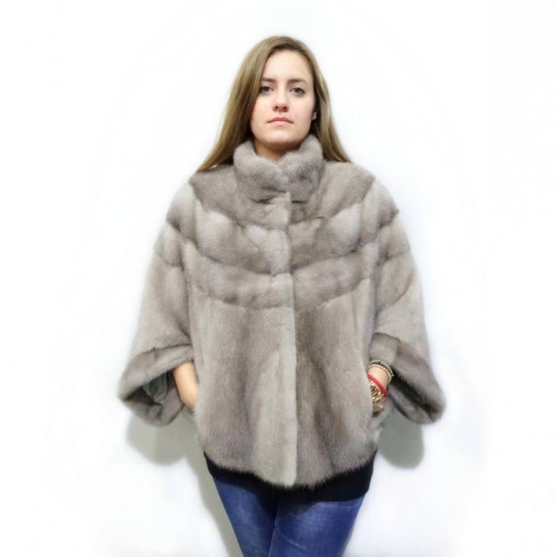 Cappotto di pelliccia grigia bolero di pelliccia vera vera  86effb85b87