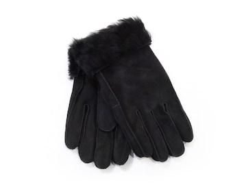 Black warm mouton fur gloves F443