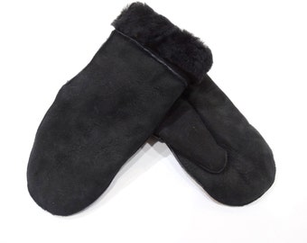 Sheared mouton fur mittens F444