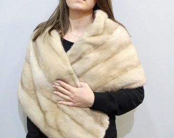 Large fur stole, Wedding shawl F354
