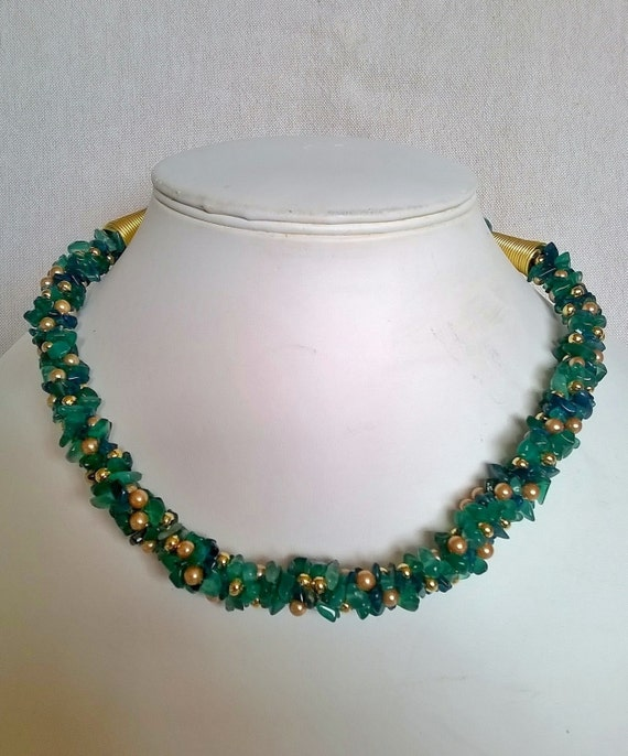 S - 375 Onyx and apatite, green and blue kumihimo necklace