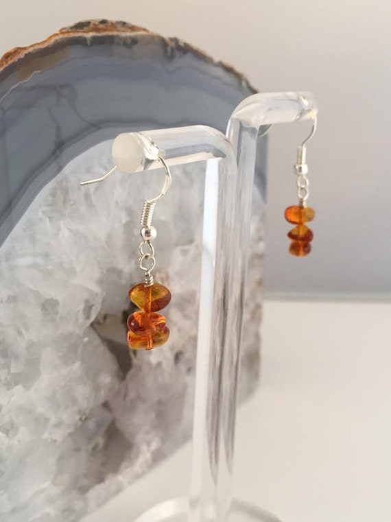 S - 682 Amber earrings with 925 sterling silver