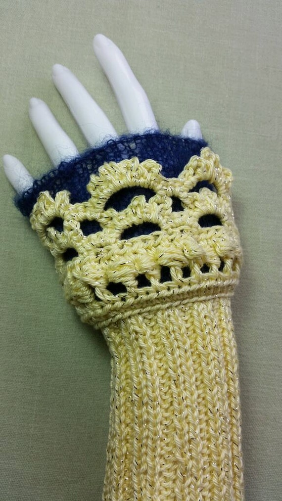 W245.  Hand knitted wristlets with crochet finish. Fingerless gloves