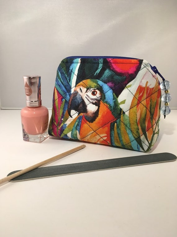 S - 891 Parrot design small makeup bag / coin purse.