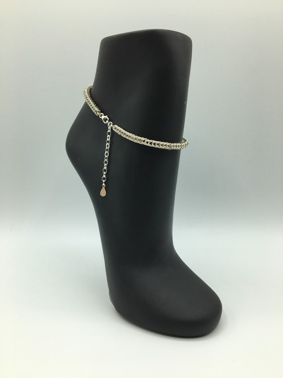 S - 059 Anklet made with all 925 sterling silver chainmaille!