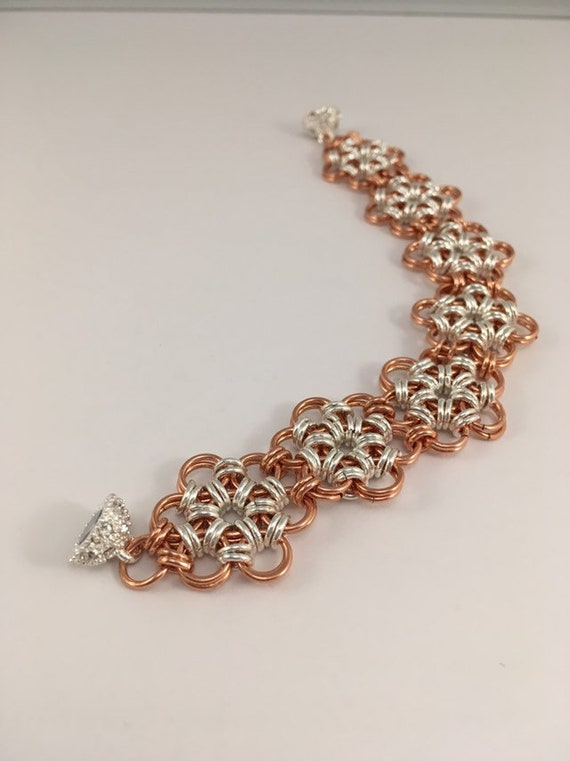 S - 688 Rose gold plated and silver plated chainmaille bracelet
