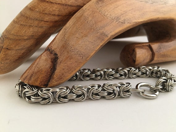 S - 024 Mens Byzantine weave bracelet in stainless steel