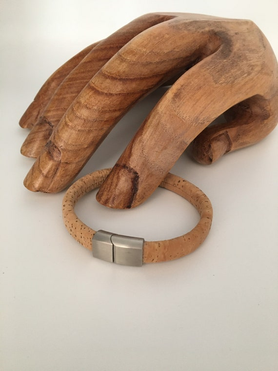 S - 080 Genuine, Portuguese, cork bracelet with slide- in magnetic clasp either for him or for her! Ideal gift for the eco friendly!
