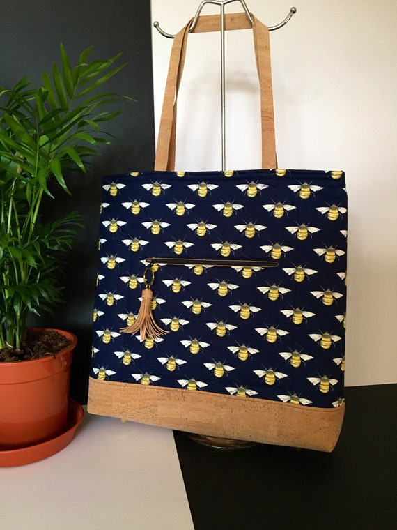 S - 117 Bees tote/shoulder bag with navy background