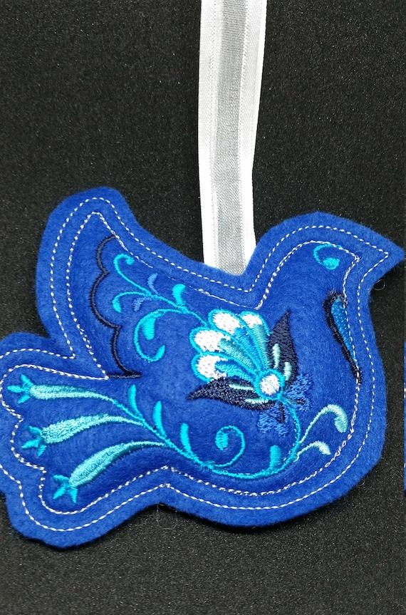 X041.   Royal blue felt  Dove Christmas ornament