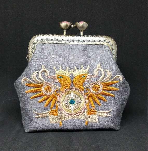 CP664.   Steampunk alchemy double headed eagle coin purse.