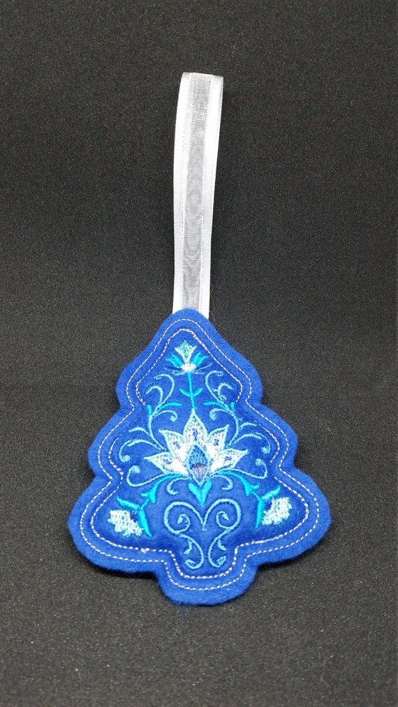 X044.   Royal blue Tree shape Felt Christmas Tree decoration
