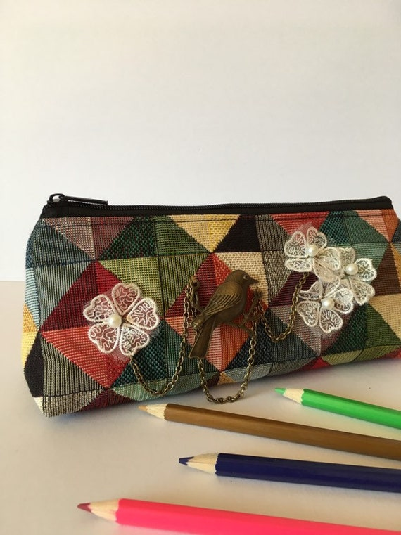 PC001 - Unique pencil case, featuring steampunk design . Multicoloured . Fully lined