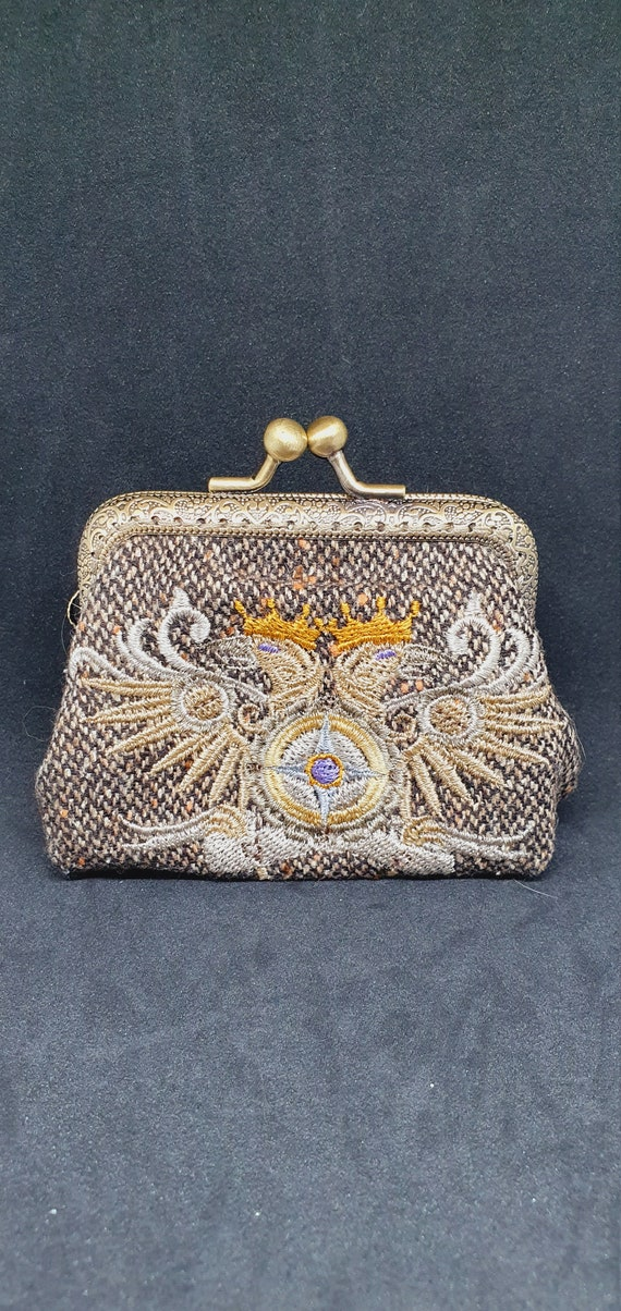 CP734.    The steampunk alchemy double headed eagle coin purse.
