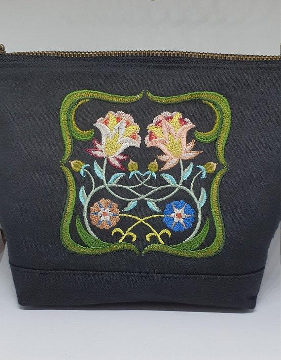 B759.        Art Nouveau floral square  cosmetic  bag.