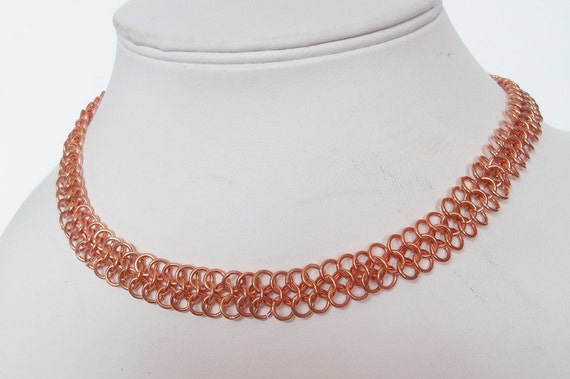 S - 206 Copper flat weave necklace