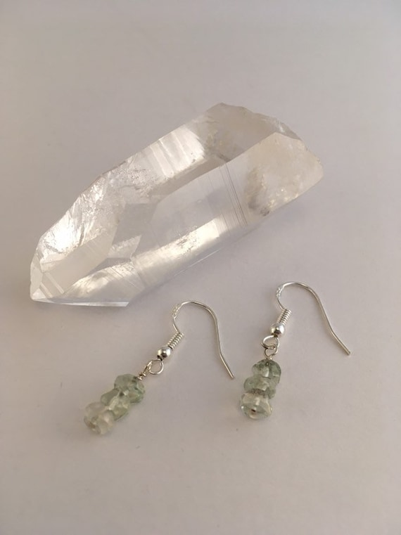 S - 779 Green amethyst delicate drop earrings