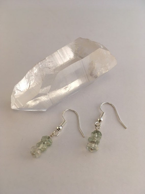 S - 779 Green amethyst delicate drop earrings in 925 sterling silver