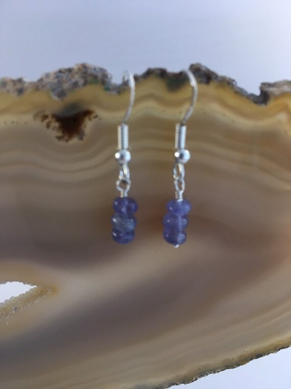 S - 677 Tanzanite earrings with 925 sterling silver findings