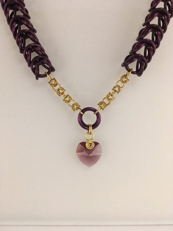 S - 798 Swarovski heart charm chainmaille necklace