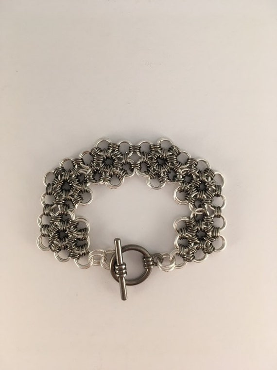S - 687 Gunsmoke and silver chainmaille bracelet