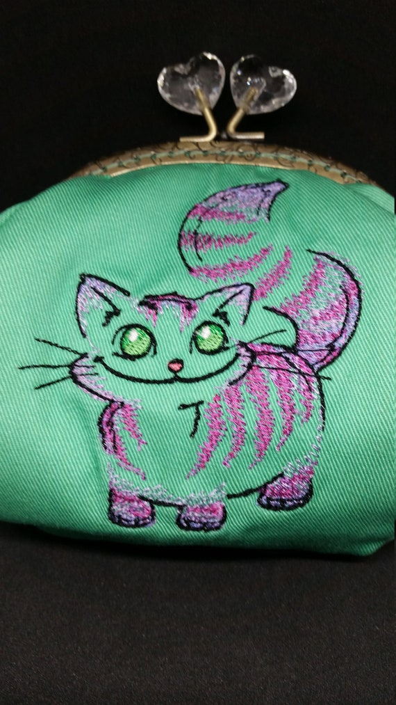 CP701.   The Fluffy cheshire cat design large coin purse.