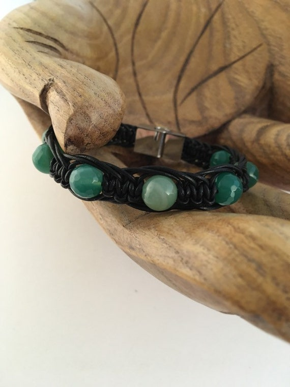 S - 881 Men's bracelet featuring green agate