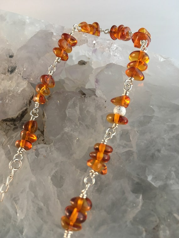 S - 676 925 Amber bracelet handcrafted with 925 sterling silver