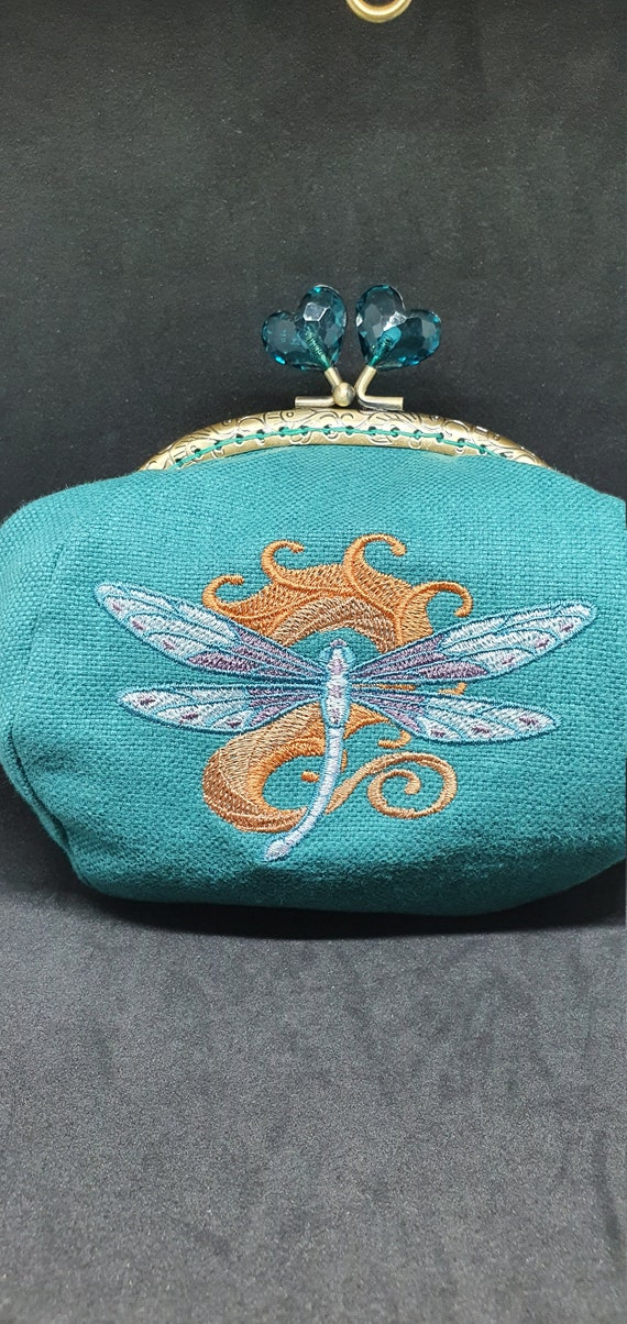 CP745.    Art nouveau dragonfly design purse