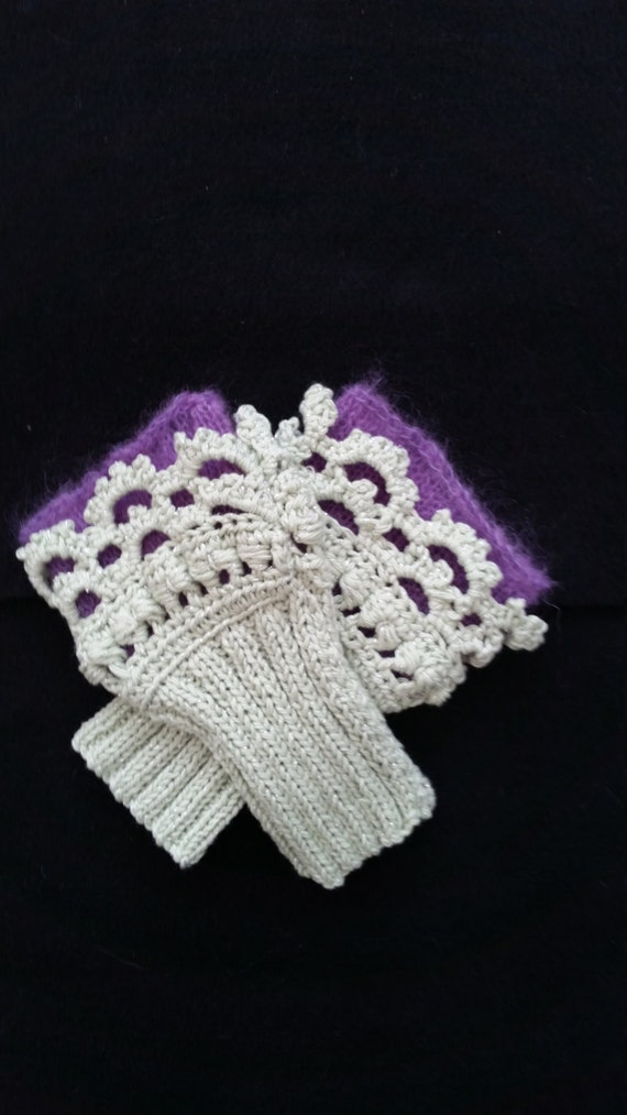 L316  Hand knitted wristlets with crochet finish. Fingerless gloves
