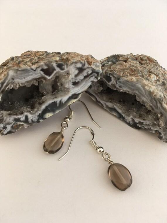 S - 796 Smoky quartz drop earrings
