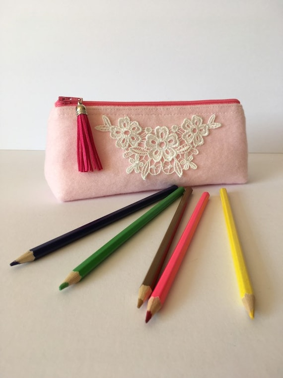 PC002 - Pink and lace pencil case. Fully lined. Back to school .