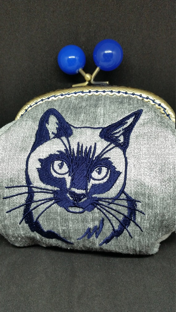 CP652..   The siamese cat silhouette design large coin purse.