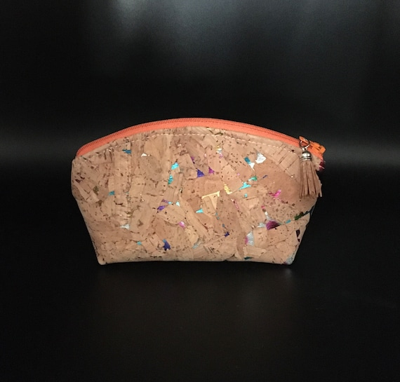 S - 110 Eco friendly small cork makeup bag with colourful flecks