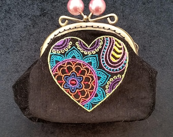 CP545.  Mehndi heart coin purse.