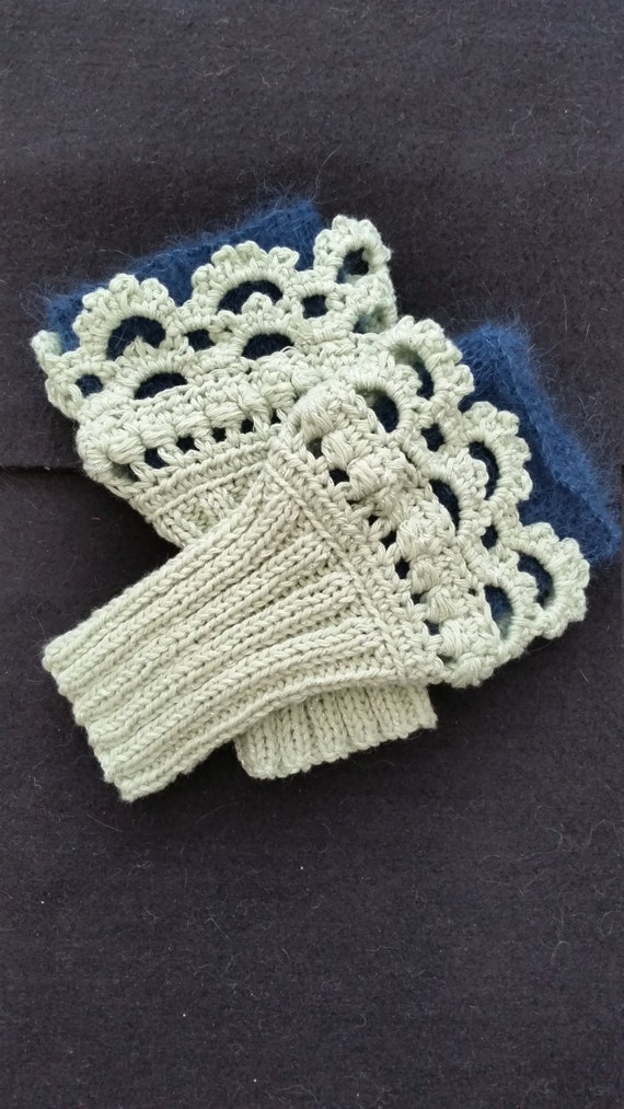 L312  Hand knitted wristlets with crochet finish. Fingerless gloves