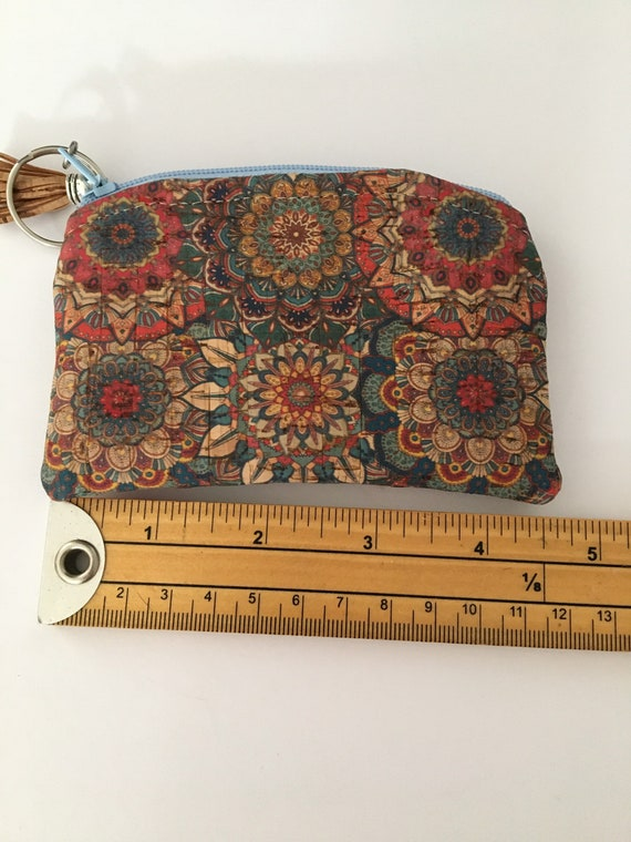 S - 122 Mandala style flowers, small bank/coin purse made from cork