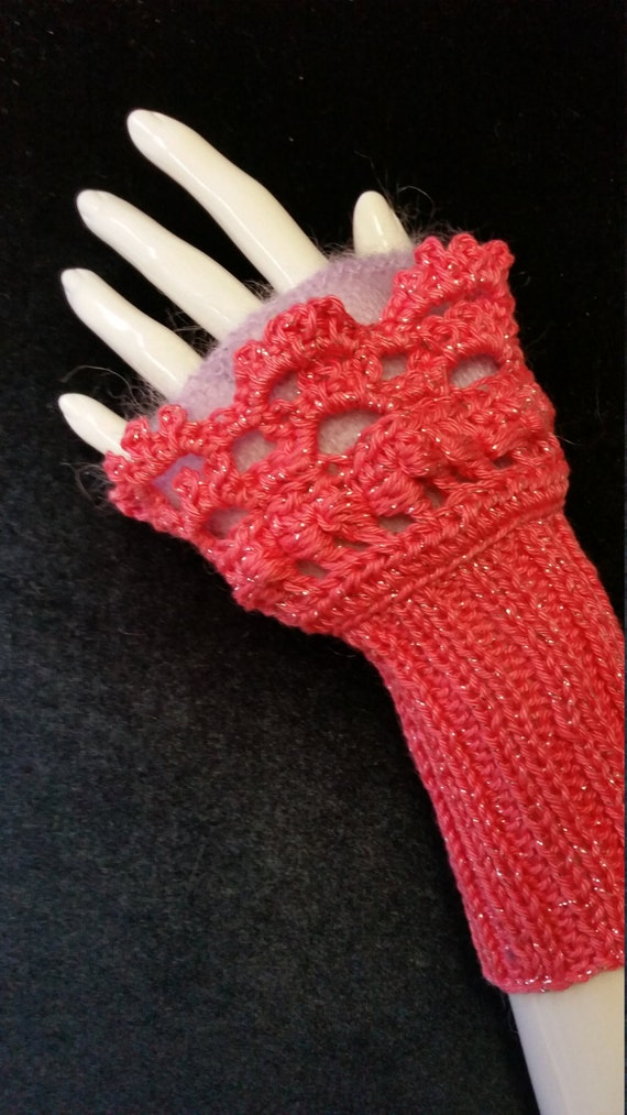 W345.  Wristlets .  Hand knitted wristlets with crochet finish