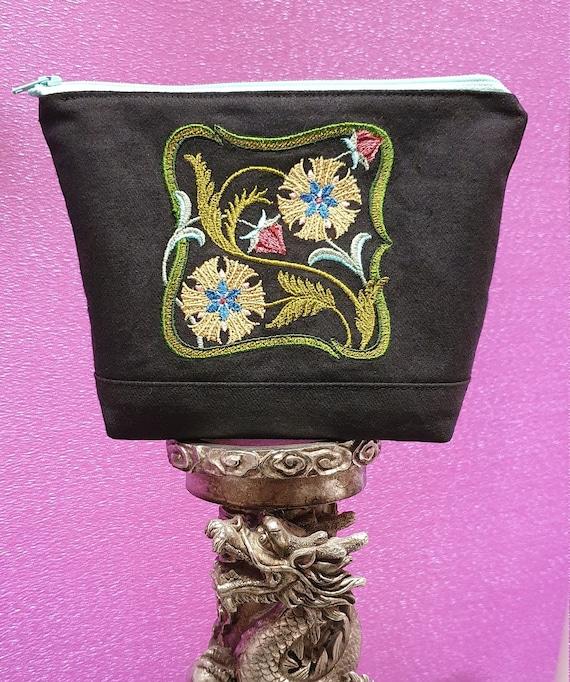 B763.    Art Nouveau floral square 2 wash or cosmetics bag