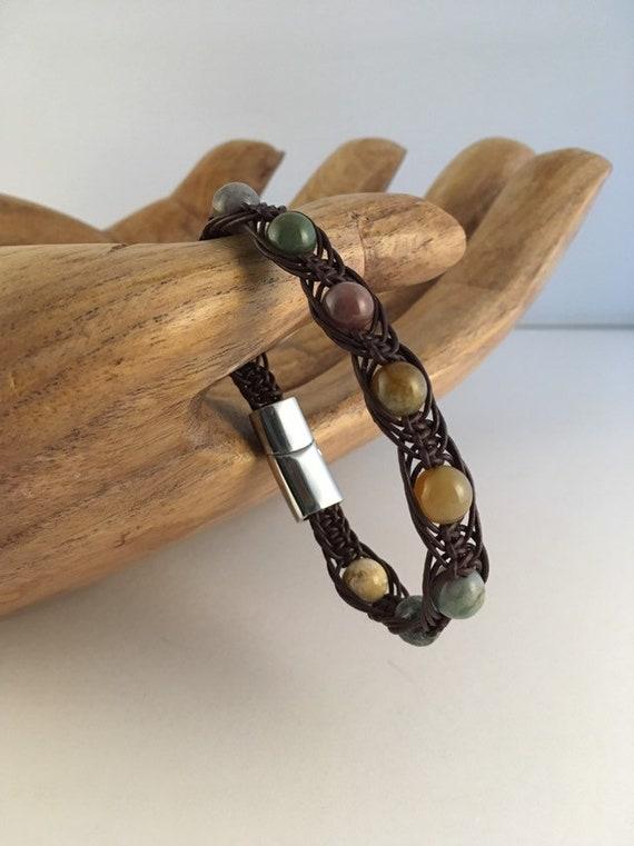S - 877 Men's bracelet featuring agate