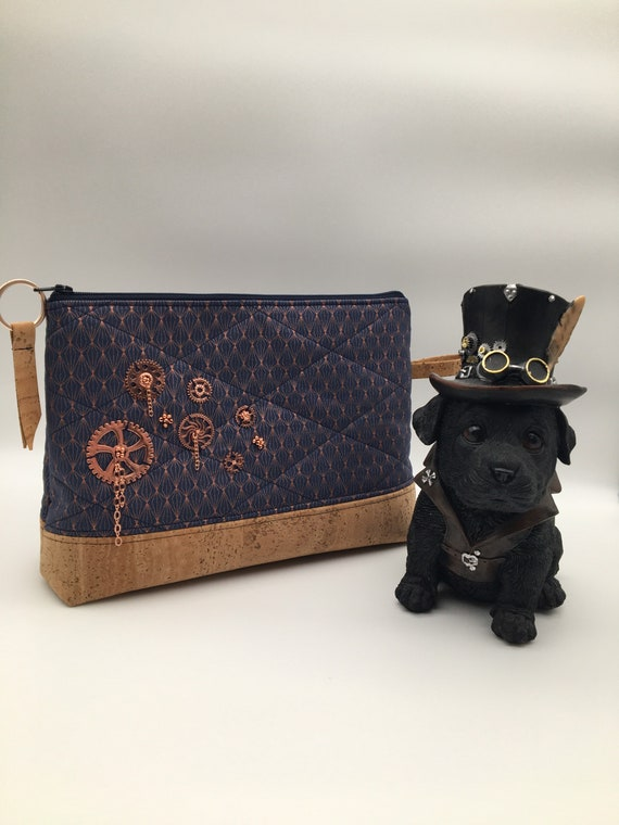 S - 129 Steampunk style washbag with rose gold coloured cogs and cork base