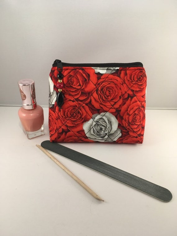 S - 892 Small makeup /coin purse featuring rose pattern and genuine gemstones