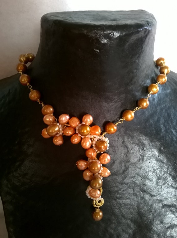 Sale - Statement necklace , featuring peach pearls