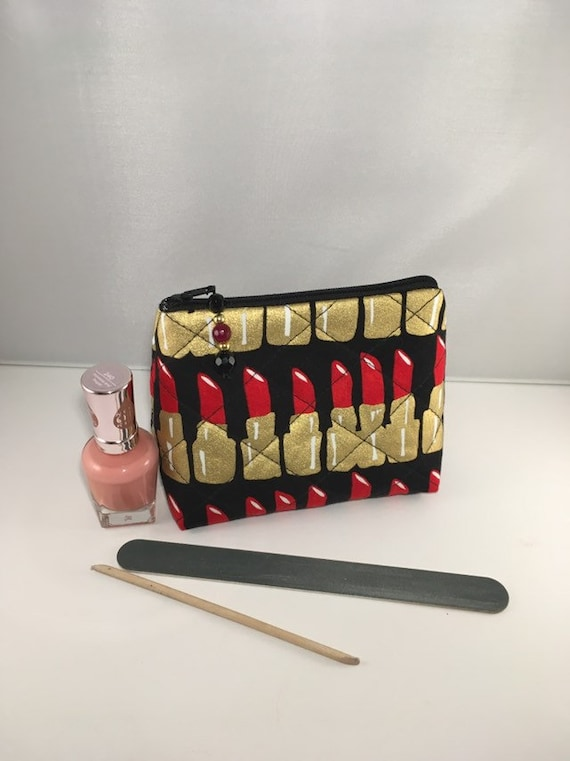 S - 896 Small makeup bag. Lipstick design fabric !
