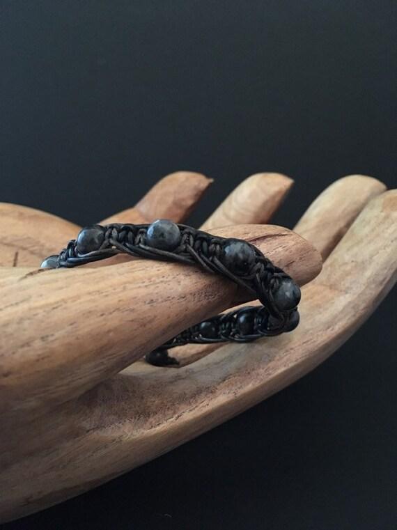 S - 697 Men's lavakite, macrame bracelet