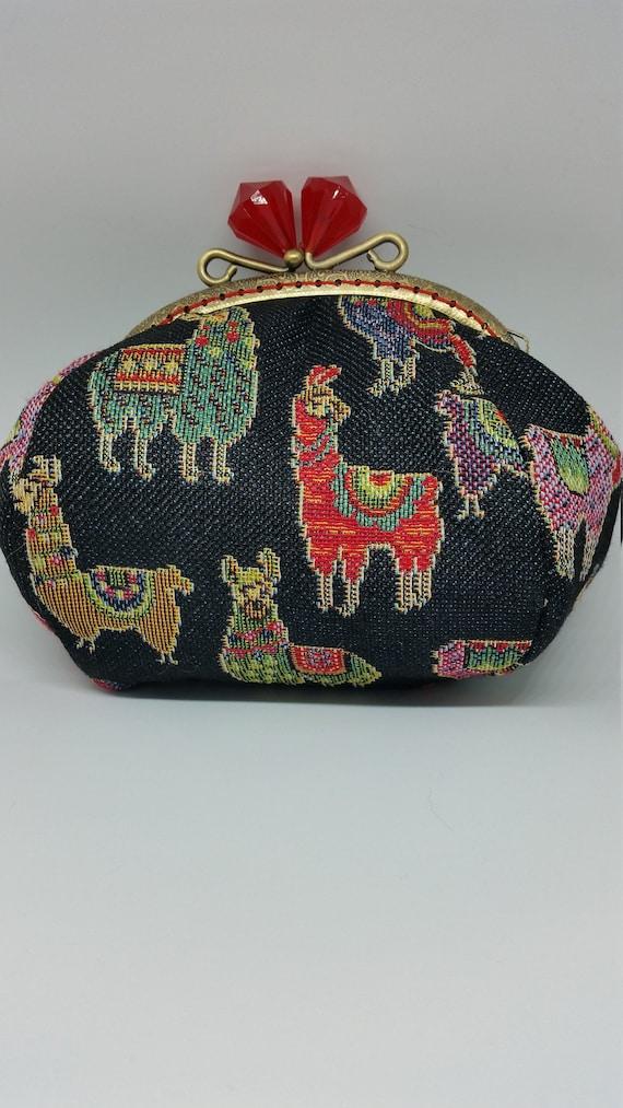 CP649.   The black  llama design large coin purse.