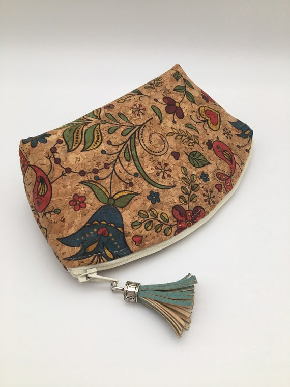 S - 131 Small cork makeup bag. Birds and flowers design on a natural coloured background