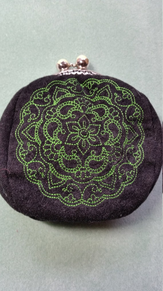 L126.  Coin purse with mehndi medallion design