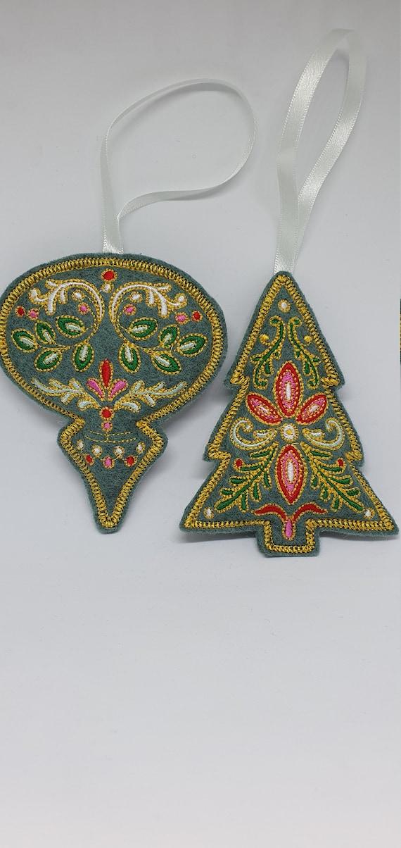 XO 061. Festive filigree Christmas decorations.